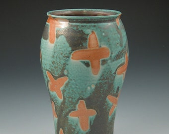 Vase Aqua and Burnt Orange X Pattern Handmade Ceramics Handmade Pottery