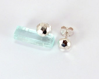 Faceted Stud Earrings, Sterling Silver, Made to Order