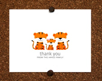 Tiger Baby Thank You Cards. Baby Shower Thank You Cards. Thank Yous. Personalized Stationery (Set of 10)