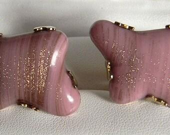 Vintage Swank Pink Murano Glass Cufflinks