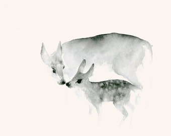Watercolor Print Ghost Mother and Fawn