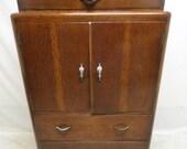 Antique Art Deco Tiger Oak Highboy Chest of Drawers Dresser Linen Press Tall Boy High Boy Bowfront Top