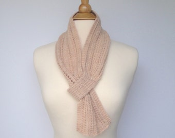 One End Pull Through Scarf, Hand Knit in Baby Merino, Keyhole Loop Scarflette, Neck Scarf