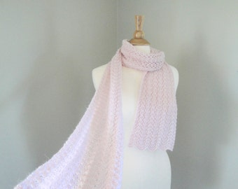 Pale Pink Scarf, Baby Alpaca Wool, Hand Knit, Luxury Natural Fiber, Super Soft, Lightweight Lacy Knit