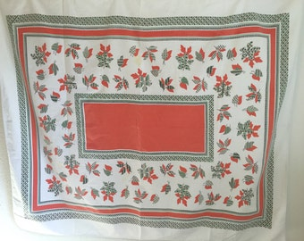 Vintage Tablecloth, Red White Tan patterned tablecloth, mid century modern print tablecloth
