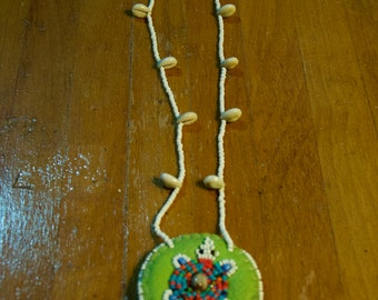 Vintage Beaded Patch And Shell Necklace