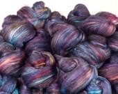 Fiber Batts - Hubble Sticklebatts - (4 oz.)25% Natural Black Australian BOND fleece, merino, silk, bamboo, silk noil, angelina