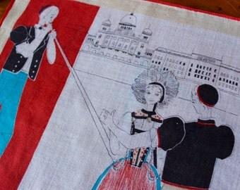 Vintage Linen Handkerchief Hankie Souvenir Bern Switzerland Folk Dancers Swiss Horn Alpine  Cotton