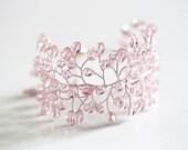 618_Bridal jewelry, Bridal bracelet, Pink crystal bracelet, Crystal Bridal bracelet, Pink gold jewelry, Blush wedding bracelet, Bridal