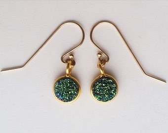 Mini, Round Green Druzy Earrings