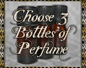 Perfume Oil Gift Set: Choose Three (3) 5mL Perfumes, Cologne Oil, Artisan Fragrance, Alcohol Free, Ships Out in 5-7 Days