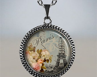 Shabby chic Paris necklace, Paris pendant, Paris jewelry, Paris jewellery, romantic travel memento, Eiffel Tower necklace