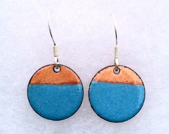 Blue round earrings - geometric jewellery - two tone copper and baby blue round enamel earrings - 925 Sterling Silver earring wires