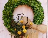 "20"" FRESH PRESERVED BOXWOOD Wreath-Boxwood-Spring Wreath-Spring Door Wreath-Front Door Wreath-Summer Wreath-Burlap Floral Boxwood Wreath"