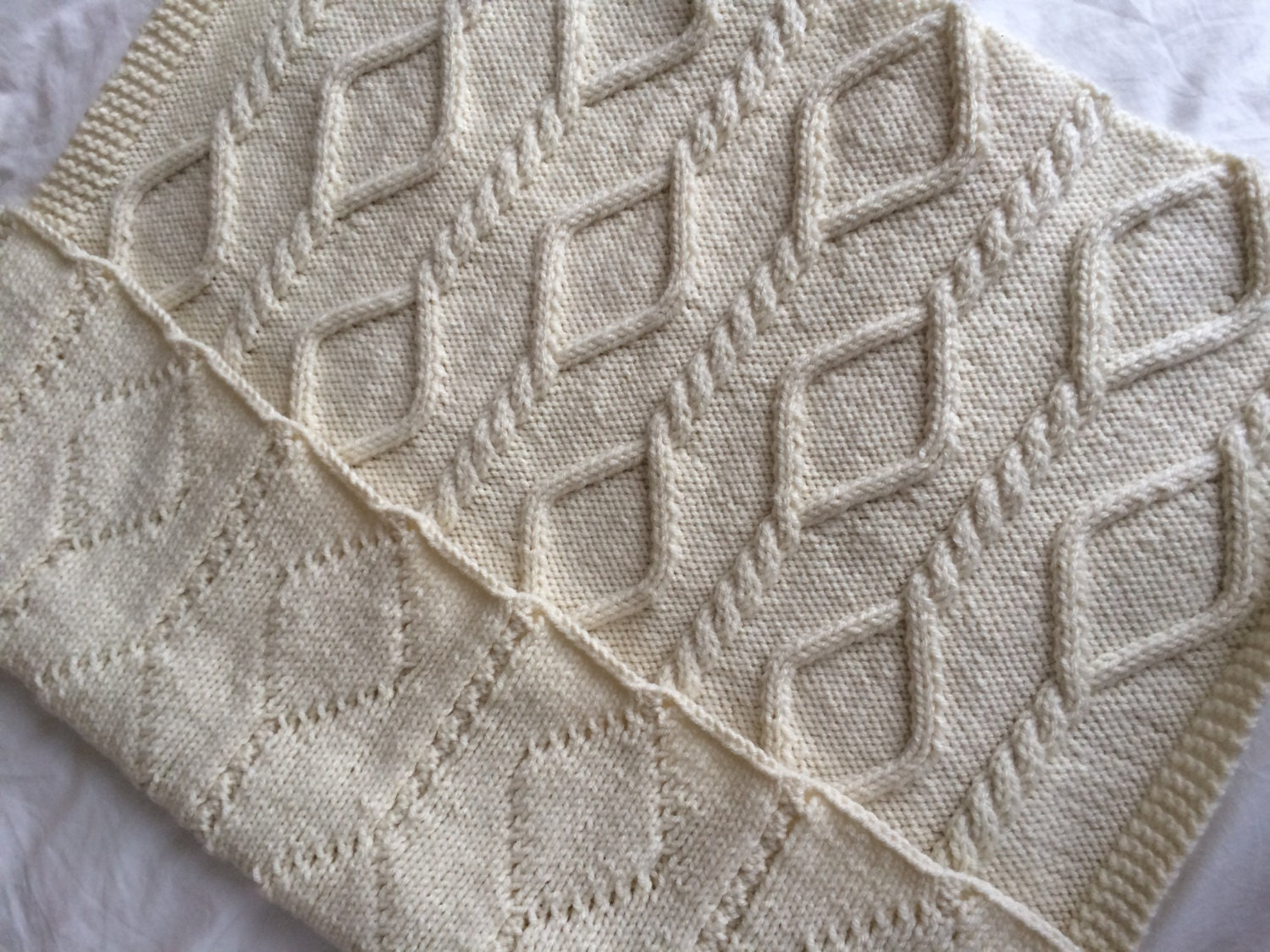 Chain Cable Blanket Knitting Pattern PDF Instant by KnitSewMake