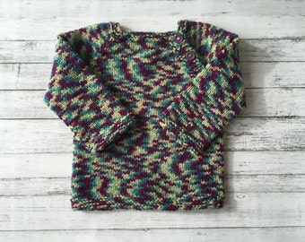 hand knit toddler sweater with button closure Size 2-3
