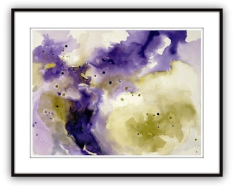 "Abstract large painting,  22"" x 30"", watercolor 'March' by Victoria Kloch, purple and green"