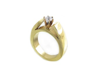 Cathedral Style Engagement Wedding Ring Yellow Gold and Diamond - Bold Engagement Ring - Tapered Cathedral Ring- Modern Wedding Ring Diamond
