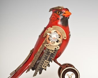 Red cardinal on wheels