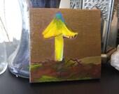 Small 4x4 Acrylic Woodland Mushroom Painting