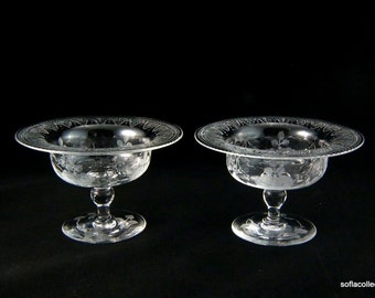 Tuthill Cut Glass (presumed) ABP Sherbet Bowls -  Engraved on Bowl & Foot with Detailed Roses (pair)