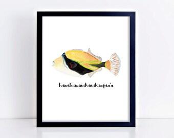 Hawaiian Humu Fish Art Print || art print, tropical decor, humuhumu, trigger fish, hawaiian art, ocean lover, original watercolor painting