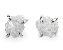 14k White Gold Rough Diamond Earrings