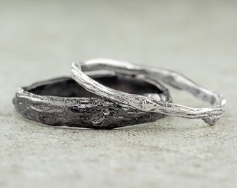 Branch Wedding Ring Set, Sterling Silver