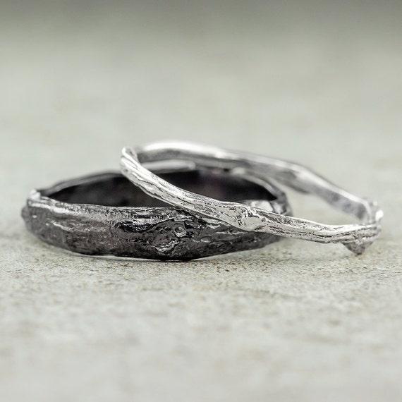 branch wedding ring set sterling silver