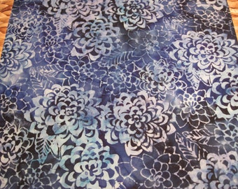 """14"""" x 14"""" Pillow Cover -  Glorious Large Floral Flowers in Indigo and Sky Blues Fine Batik Cottons"""