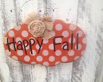Wooden Happy Fall Pumpkin Sign, Fall Home Decor Sign, Pumpkin Hanger
