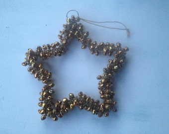 Vintage Gold Jingle Bell Star, Vintage Christmas Ornaments