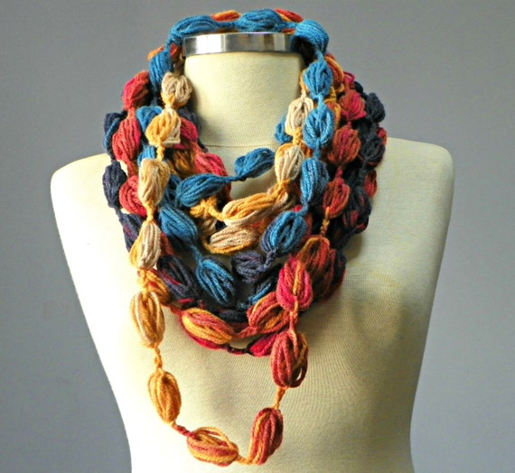 Crochet Infinity scarf, bubble fiber necklace, colorful loop neckwarmer, women accessories, chunky loop scarf