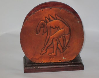 Art Deco Unique Etched Copper and Wood Napkin Holder of Bathing Nude.