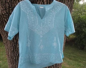 Vintage Cotton Bohemian Shirt Hippie Shirt