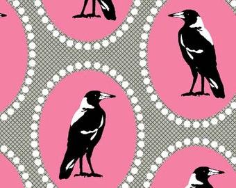 Melba by Emma Jean Jansen for Ella Blue - Magpie - Pink - Fat Quarter - FQ - Cotton Quilt Fabric 516