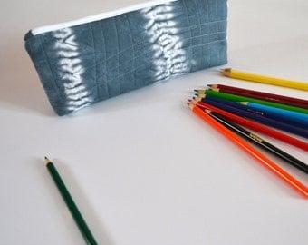Pencil Pouch, Zipper pouch, Art Case, Pencil Case, School Supplies, Blue, Shibori