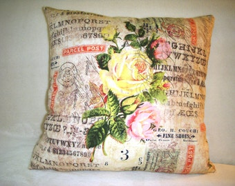 Pillow Cover Tim Holtz Wallflower Rose Parcel  Flowers Yellow Script Stamps Pink Numbers Black Green
