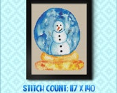 Snowman Snowglobe Cross Stitch Pattern - Instant Download PDF - Modern Cross Stitch Design