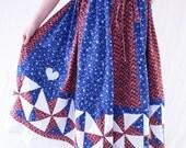 US Blues Grateful Dead Long Spinner Quilt Patchwork Skirt