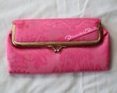 VTG Oscar De La Renta fabric Pink Clutch Pouch Makeup Bag Handbag Purse