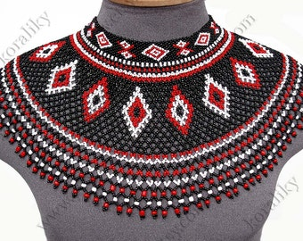 Traditional Lemko Kryza Folk Handmade Beads Beaded NECKLACE Gerdan Black