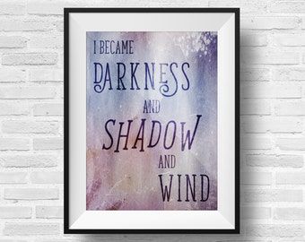 ACOMAF Quote 8 x 10 Typography Art Print - A Court of Mist and Fury Inspired Literary Quote Rhys Feyre Rhysand Book Nerd Fandom Fan