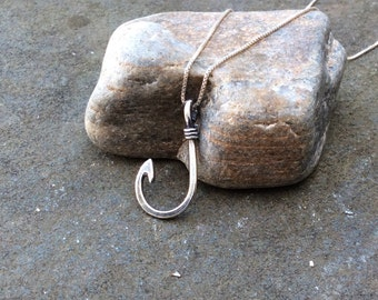 Sterling silver jewelry, Sterling silver fish hook necklace