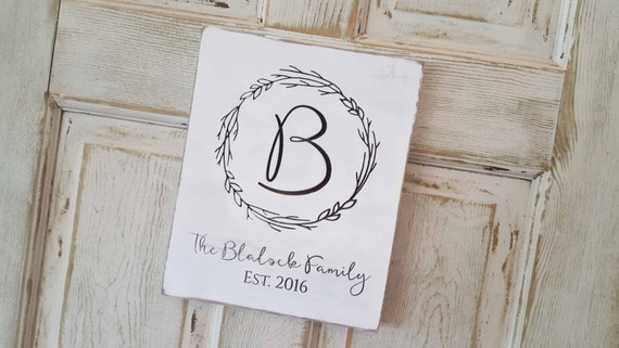 Family Established Sign, Last Name Sign, Gallery Wall Decor, Monogram, Est Date, Wedding Gift, Bridal Shower Gift, 5th anniversary