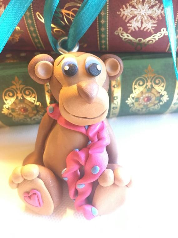 Monkey christmas tree ornament personalized tree ornament zoo animal