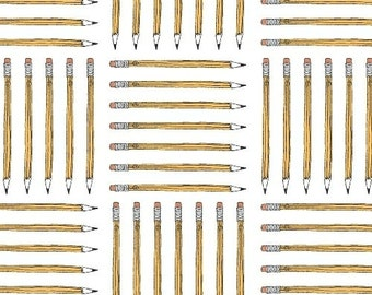 Pencils (White) - Desk Job - Fierce Mally - Windham Fabrics - 1 Yard