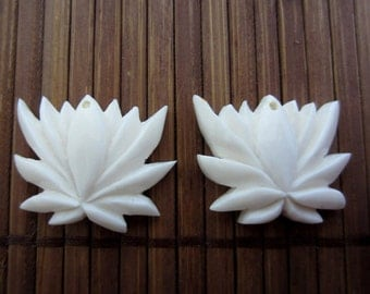 Pair of Gorgeous blooming lotus flower, drill  S6871