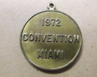 """Vintage 1972 """"GOP Convention"""" Miami, Medal/Medallion - """"Serving Anew in 72"""""""