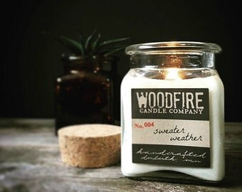 SWEATER WEATHER Apothecary Cork Topped Jar Wood Wick Soy Candle 8.5oz Fall Scent - Rustic Modern